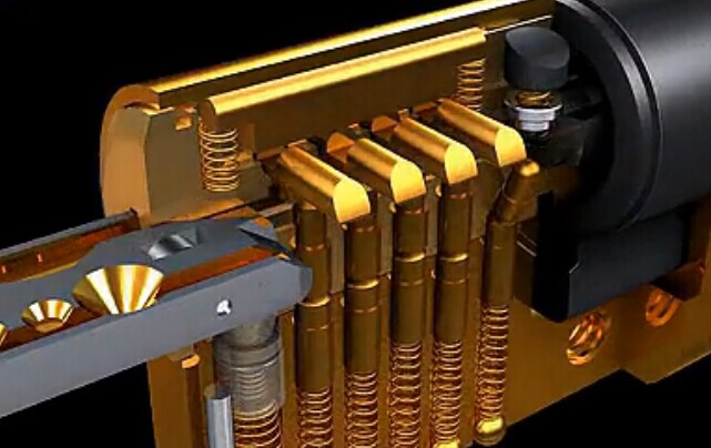 弹子锁内部结构模拟动画